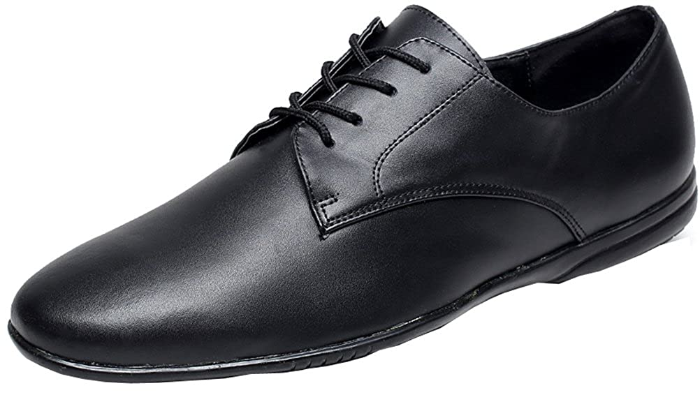 Abby Mens Jazz Tango Cha-cha Salsa1IN Heel Lace-up Round-Toe Leather Dance Shoe 9018