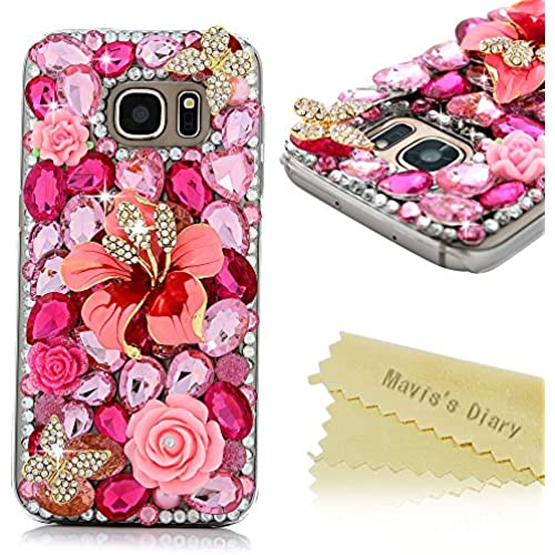 Galaxy S7 Case - Mavis's Diary Luxury 3D Handmade Bling Crystal Lovely Pink Flower Golden Butterfly with Shiny Sales