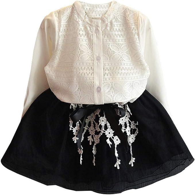 Hongyuangl Chica Falda Conjuntos Camisa de Encaje Blusa Tops de ...