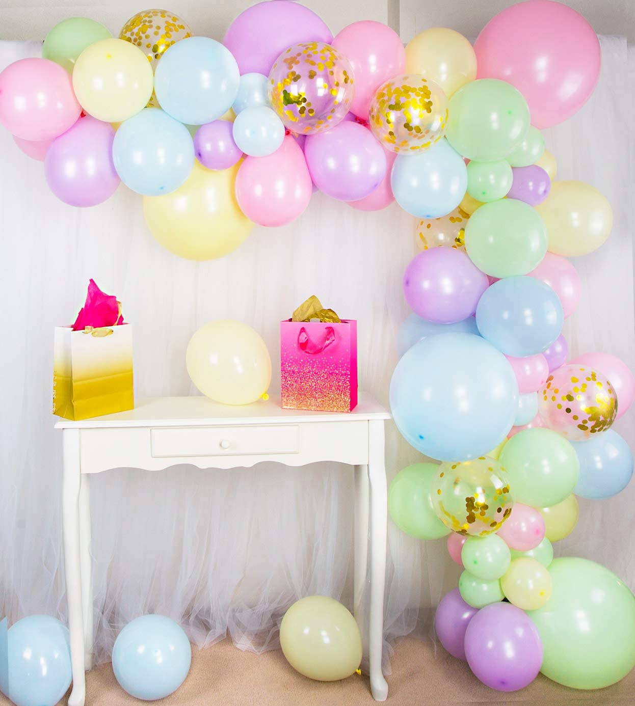 Shimmer and Confetti Premium 84 Pack Pastel Rainbow Unicorn Balloon Arch and Garland Kit – 6 Gold Confetti, Strip, Pink, Purple, Yellow, Blue, Green. Unicorn Donut Ice Cream Party Supplies, Birthdays, Christmas and Baby Showers