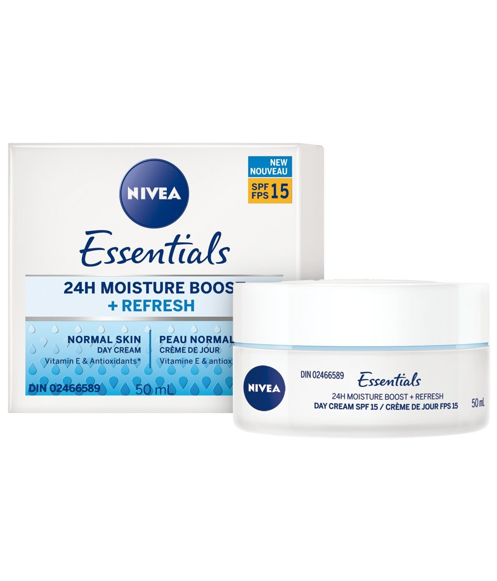 NIVEA Essentials 24h Moisture Boost + Nourish Day Cream with SPF15 for Dry Skin, 50 mL jar 50 mL jar Beiersdorf Canada Inc.