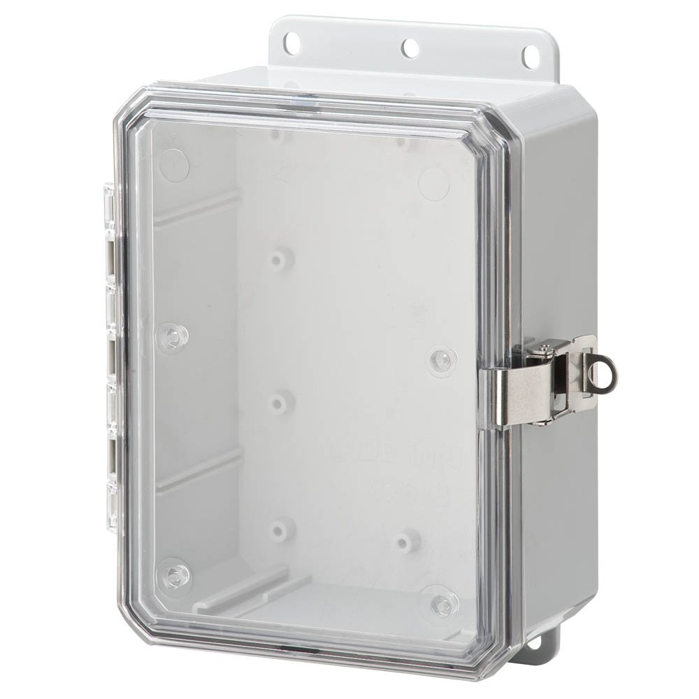 Integra P8063LPCLL Impact Line Enclosure, Low Profile Hinge, Stainless Steel Locking Latch, Integrated Flange, Clear Cover, 8'' Height, 6'' Width, 3'' Depth