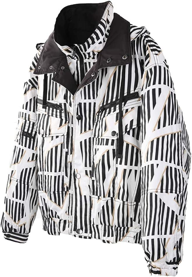 Jackets /& Coats Mens Cotton Jacket Winter Hooded Warm Cotton Jacket Short Thick Cotton Jacket Striped Multi Pocket Jacket Couple Loose Jacket Color : Black, Size : XL