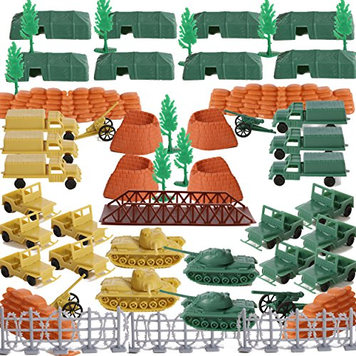 100 Piece Set of Military Army Accessory Set, War Tanks, Camp Tents, Jeeps PLUS