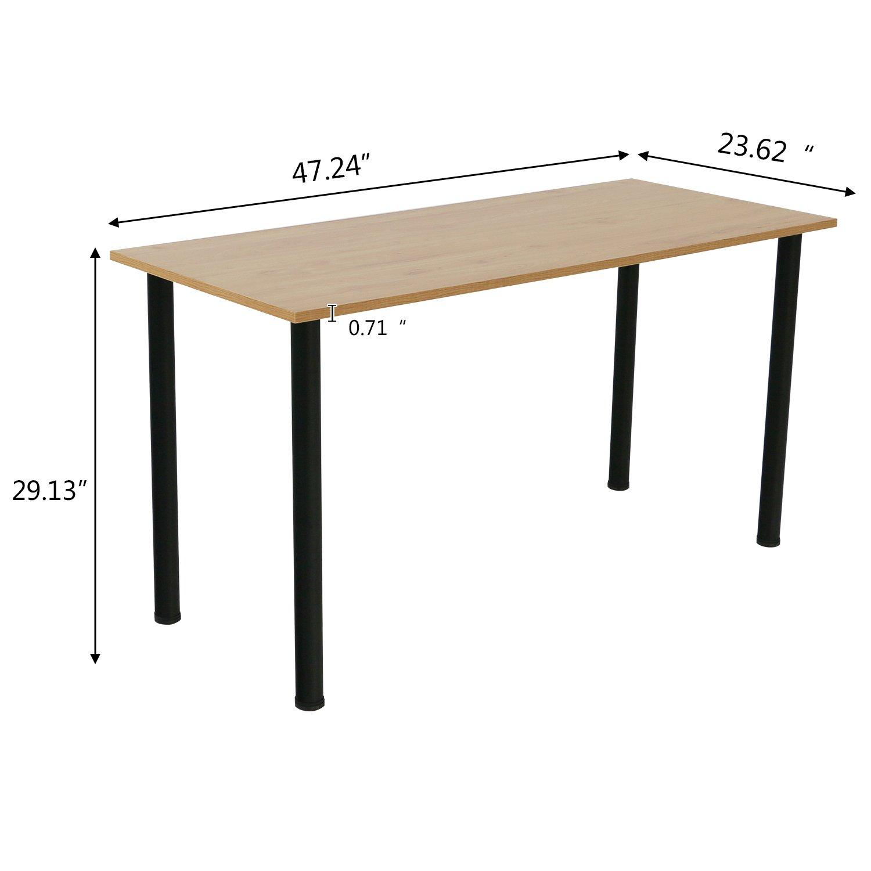 Eyabuynar Computer Table Writing Desk Workstation Office Desk 47×23.6 inch, Walnut Black Leg