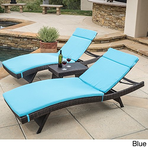 Christopher Knight Home Luana Outdoor 3-piece Wicker Adjustable Chaise Lounge Set with Cushions Blue by Christopher Knight Home