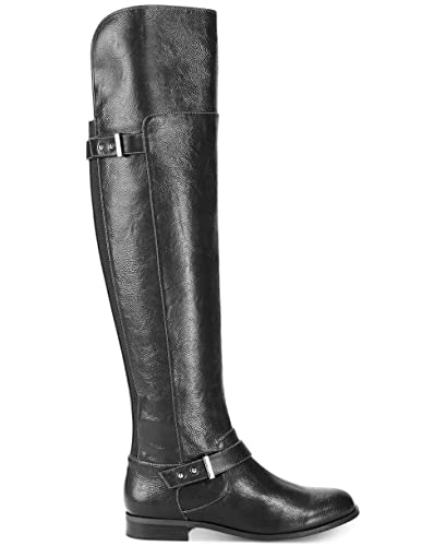 c3ee2aab292e7 Bar III Womens Daphne Closed Toe Over Knee Riding Boots, Black Micro, Size  9.0