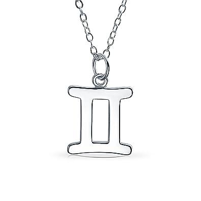 ba75990c30c5 Simple Géminis Signo Zodiaco Astrología Horóscopo para la Mujer Colgante  Collar de plata esterlina 925  Amazon.es  Joyería