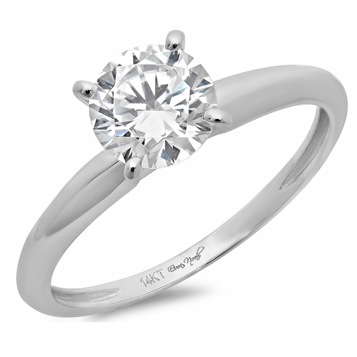 0.7 Ct Brilliant Round Cut 4-Prong Solitaire Engagement Promise Wedding Bridal Anniversary Ring 14K White Gold, Clara Pucci