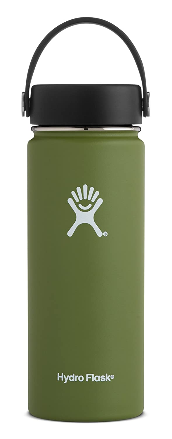 Hydro Flask 18 oz Double Wall Vacuum Insulated Stainless Steel Leak Proof Sports Water Bottle, Wide Mouth with BPA Free Flex Cap, Olive