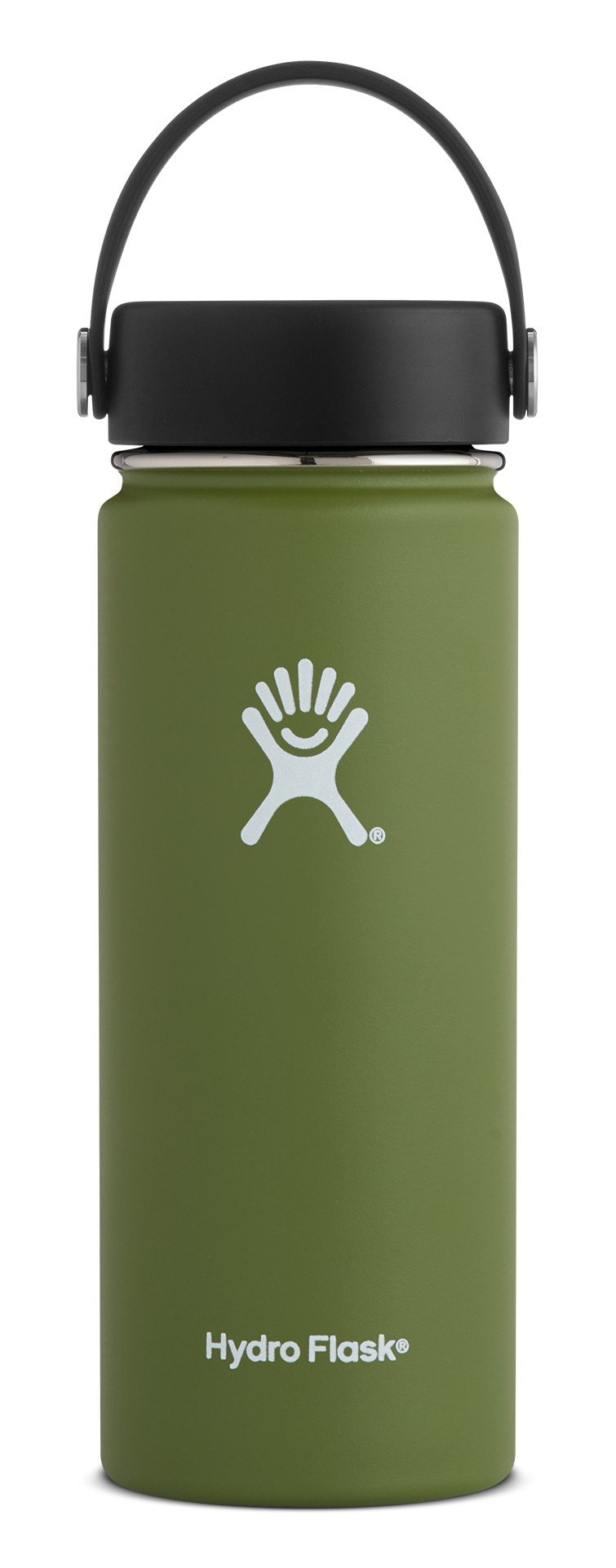 Hydro Flask 18 oz Double Wall Vacuum Insulated Stainless Steel Leak Proof Sports Water Bottle, Wide Mouth with BPA Free Flex Cap, Olive by Hydro Flask (Image #1)