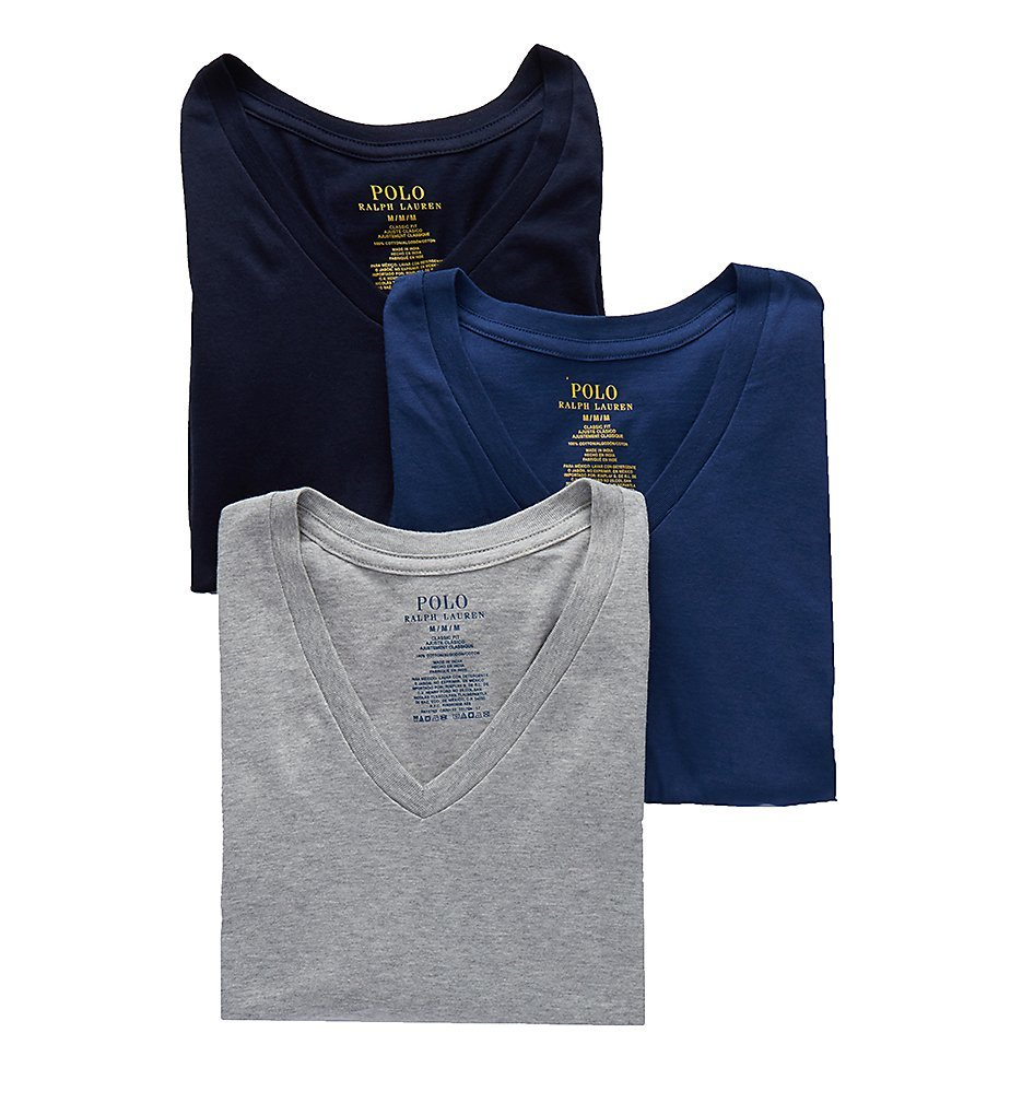 Polo Ralph Lauren Men's 3-Pack V-Neck T-Shirt Andover Heather/Bali Blue/Cruise Navy Large by Polo Ralph Lauren