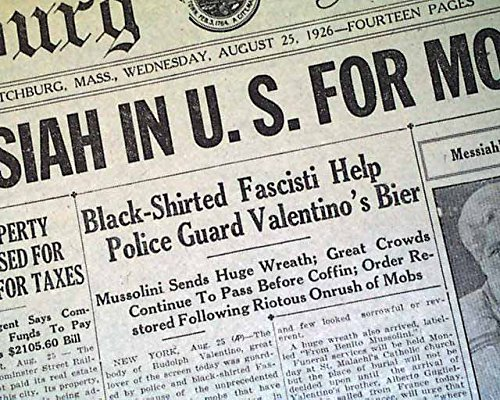 Rudolph Valentino Actor (RUDOLPH VALENTINO Latin Lover Sheik Movie Actor Death FUNERAL 1926 Newspaper FITCHBURG SENTINEL, Massachusetts, Aug. 25, 1926)