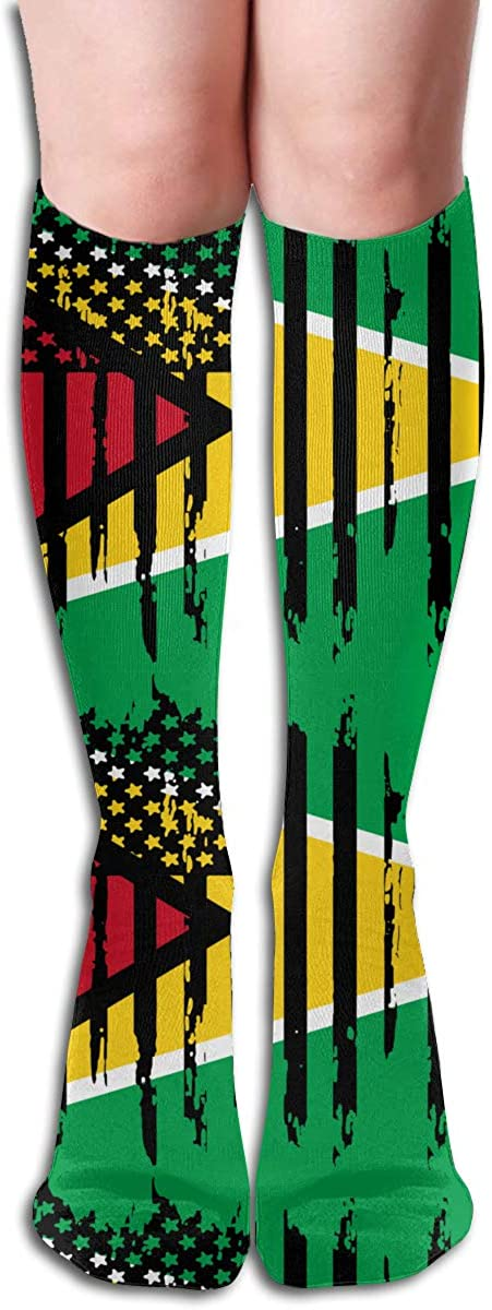 Womens Abstract American Guyana Flag Compression Socks For Athletic,Running,Travel,Nurses,Fitness