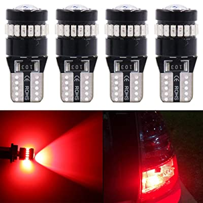 Alopee - T10 W5W 194 LED Bulbs Canbus Error Free Light with Projector 10V-30V DC for 2825 168 175 921 Base, License Plate Lamps, Position Lights, Interior Light,Red, 4 Pieces: Automotive