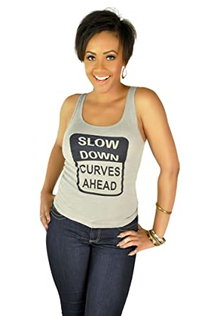 6922c2641edec Poetic Justice Curvy Women s Slow Down Curves Ahead Scoop Neck Tank Top at  Amazon Women s Clothing store