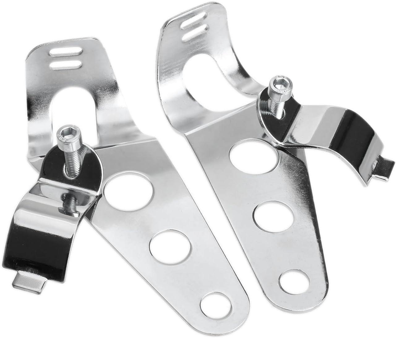 2Pcs Silver Headlight Mount Brackets Fork Ears Motorcycle Bobber Cafe Racer 28mm-34mm