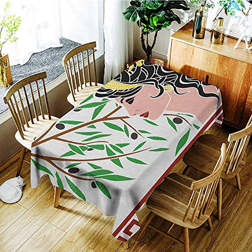 - XXANS Tablecloth for Kids/Childrens,Toga Party,Mythological Aphrodite Profile and Olive Branch Greek Borders Framework Print,Fashions Rectangular,W60X102L Multicolor
