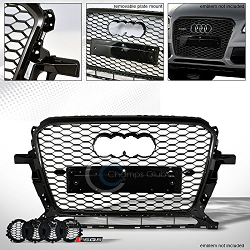 R L Racing Black Finished Rs Honeycomb Mesh Front Hood Bumper Grill Grille Guard For 2013 2016 Audi Q5