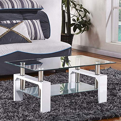 Mecor Rectangle Glass Modern Coffee Table with Shelf & Wood Legs Suit for Living Room White