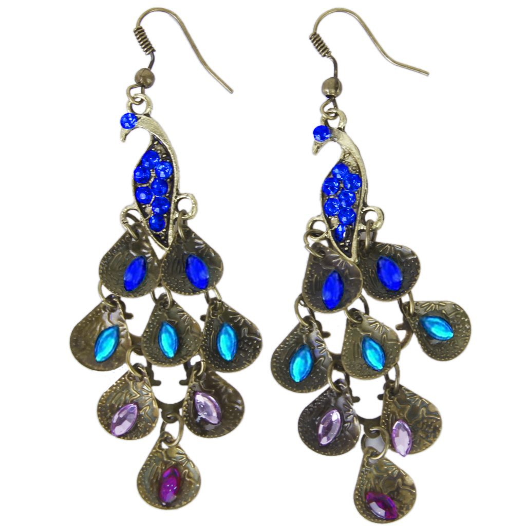 SODIAL(R) Retro Blue Rhinestone Peacock-Pattern Teardrop Tail Dangle Earrings