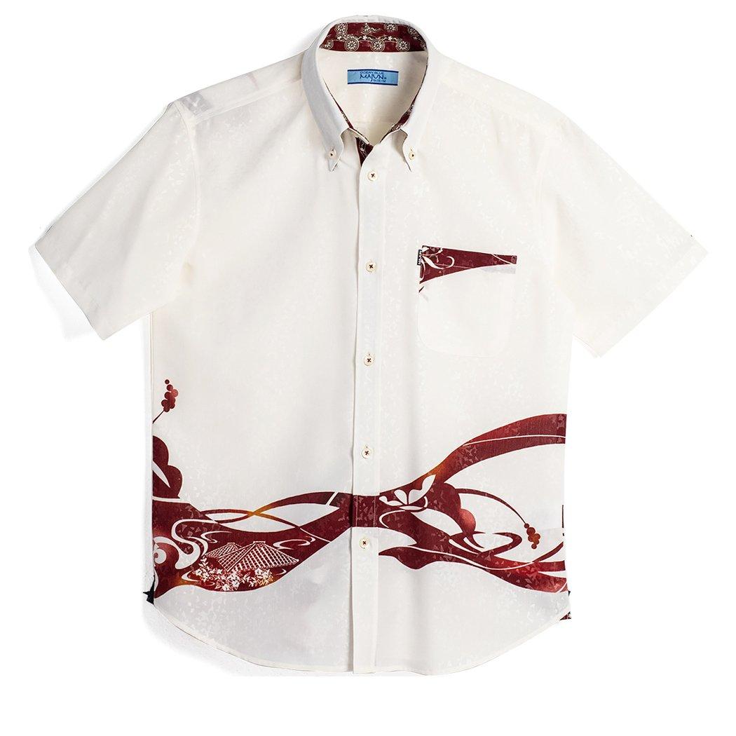 MAJUN (マジュン) かりゆしウェア アロハシャツ かりゆし 結婚式 メンズ 半袖シャツ ボタンダウン レッドタイル B07DN4YN48 M|ホワイト/レッド ホワイト/レッド M