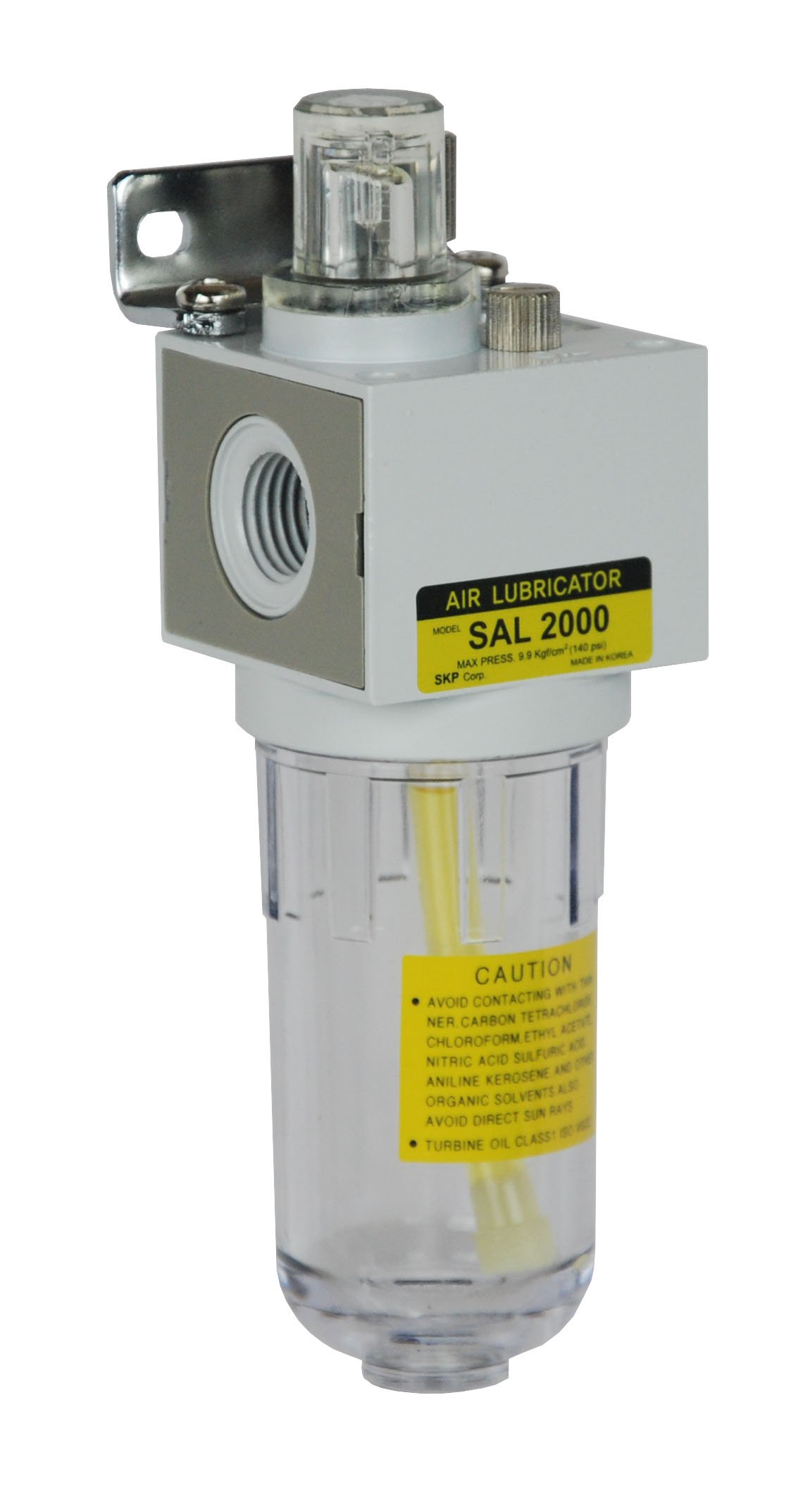 PneumaticPlus SAL2000M-N02B Miniature Compressed Air Lubricator 1/4'' NPT - Poly Bowl, Bracket by PneumaticPlus