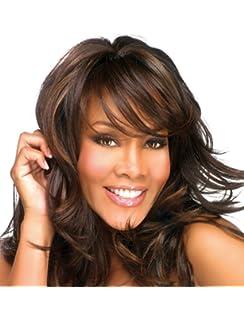 falamka moda largo rizado Oblique Bangs Mix colores mujeres peluca