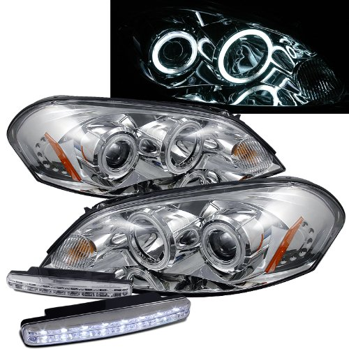 2006 2007 Chevy Monte Carlo Ccfl Halo Projector Headlights + 8 Led Fog Bumper Light