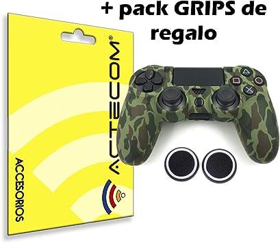 ACTECOM® Funda Carcasa + Grip Silicona Camuflaje Mando Sony PS4 ...