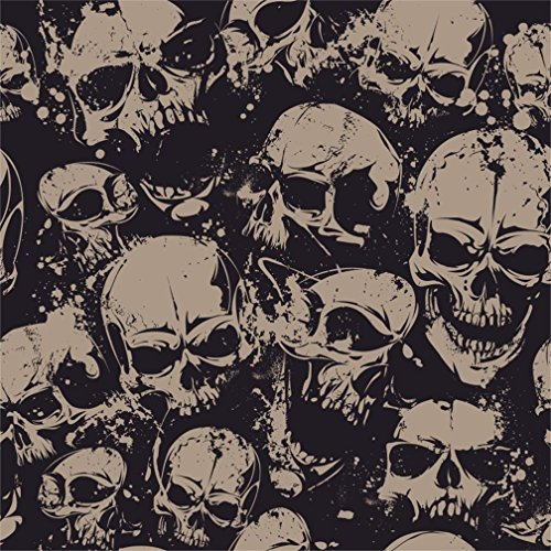 AOFOTO 6x6ft Grunge Horror Skull Backdrop Halloween Party Decoration Scary Skeleton Death Teeth Weathered Bone Photography Background Devil Dirty Evil Hooligan Demon Rock And Roll Photo Studio Props