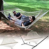 Sunnydaze Cotton Double Wide Rope Hammock with Spreader Bar OR Hammock and Stand Combo