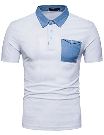 f04b8109610c Glestore Mens Polo Shirt Short Sleeve Denim Stitching Cotton Turn Down  Collar Classic Contrast Color Cow Pattern Tipped T-Shirt Patchwork Male Tops  Clothes ...
