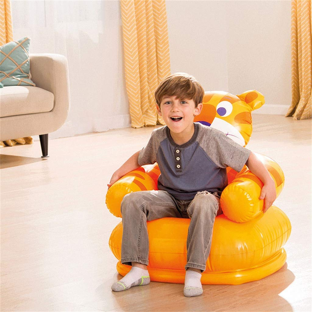 Cartoon Creative Inflatable Air Sofa Kids Chair Yellow - Tiger Household Toddlers Children,Animal Bear and Tiger Shape,Cute Inflatable Sofa Seat Suitable for Home or Backyard