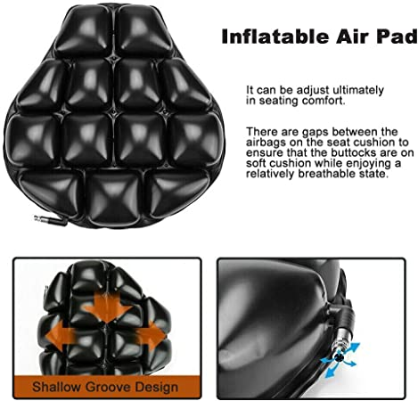 LKV Universal Air Motorcycle Seat Cushion Cruiser Touring Saddles Built-in Inflatable Airbag Pad for Comfortable Ride Traveling Pressure Relief