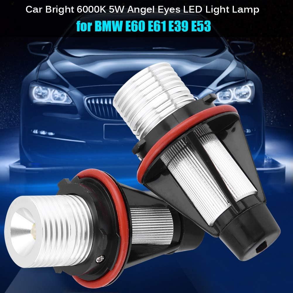 LED Lamp,2pcs Car Bright 6000K 5W Angel Eyes LED Light Lamp for E60 E61 E39 E53