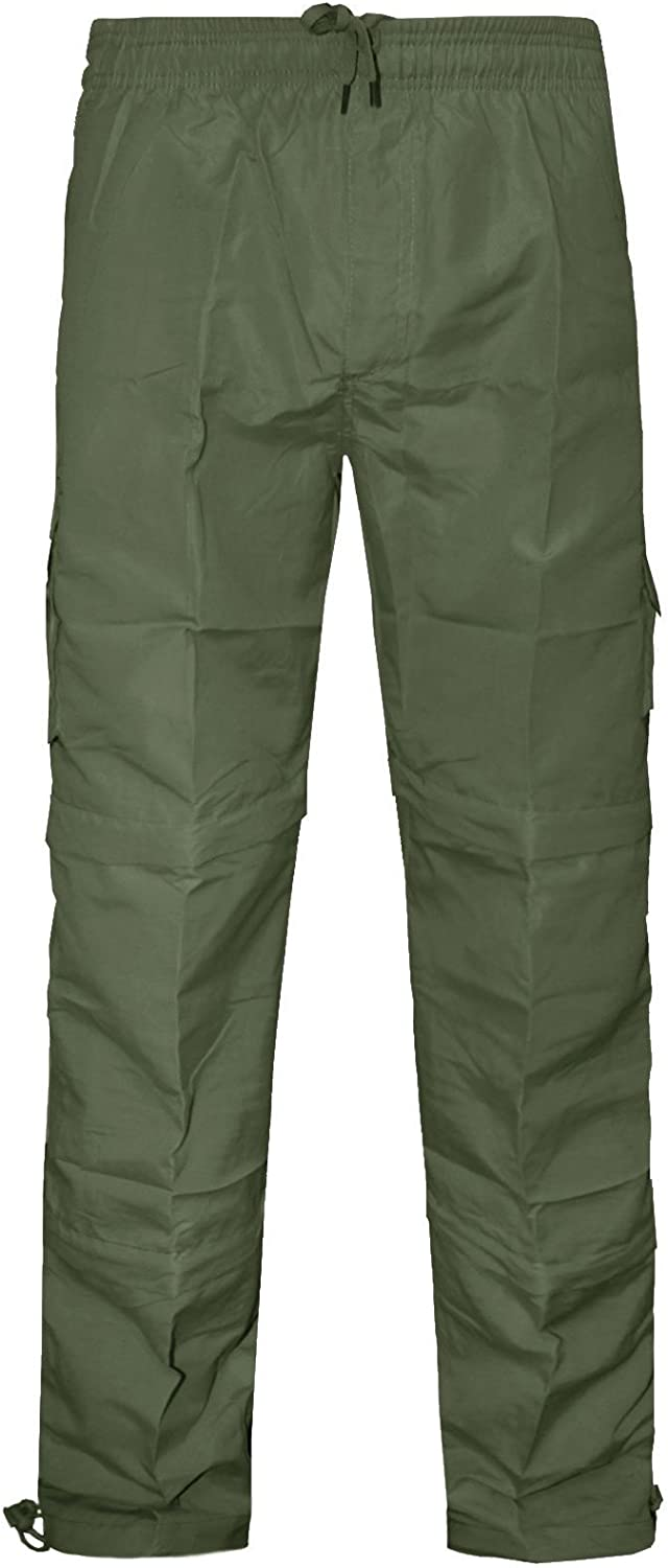New Mens 3 In 1 Trousers Zip Off Combat Cargo Pockets Summer Elasticated Waist Bottoms Shorts Polyester Pants M-3XL