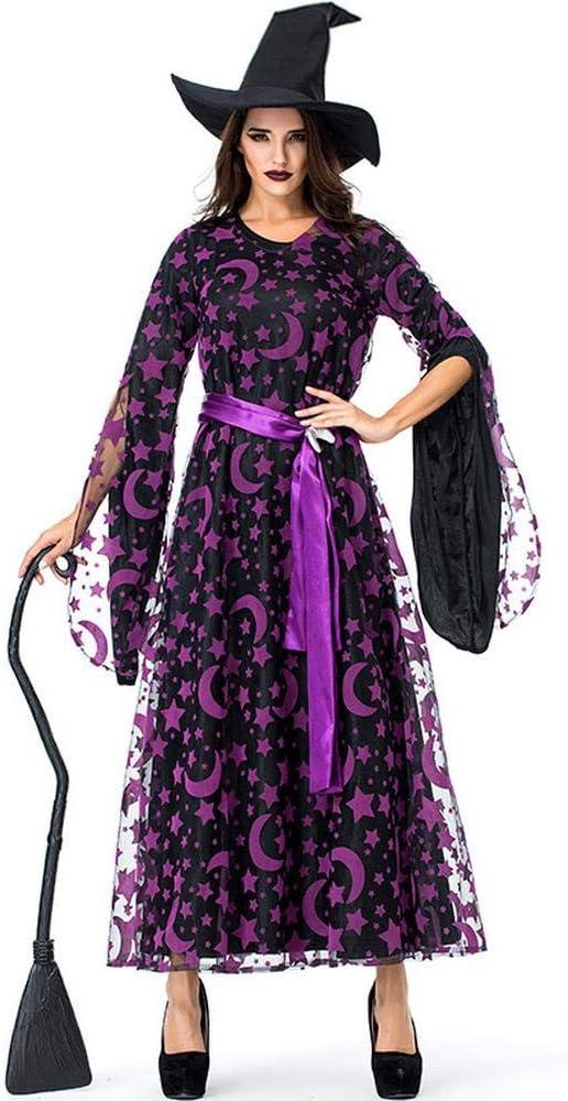 COSPLAYYL Halloween Cosplay Bruja Disfraces Estrella Púrpura Bruja ...
