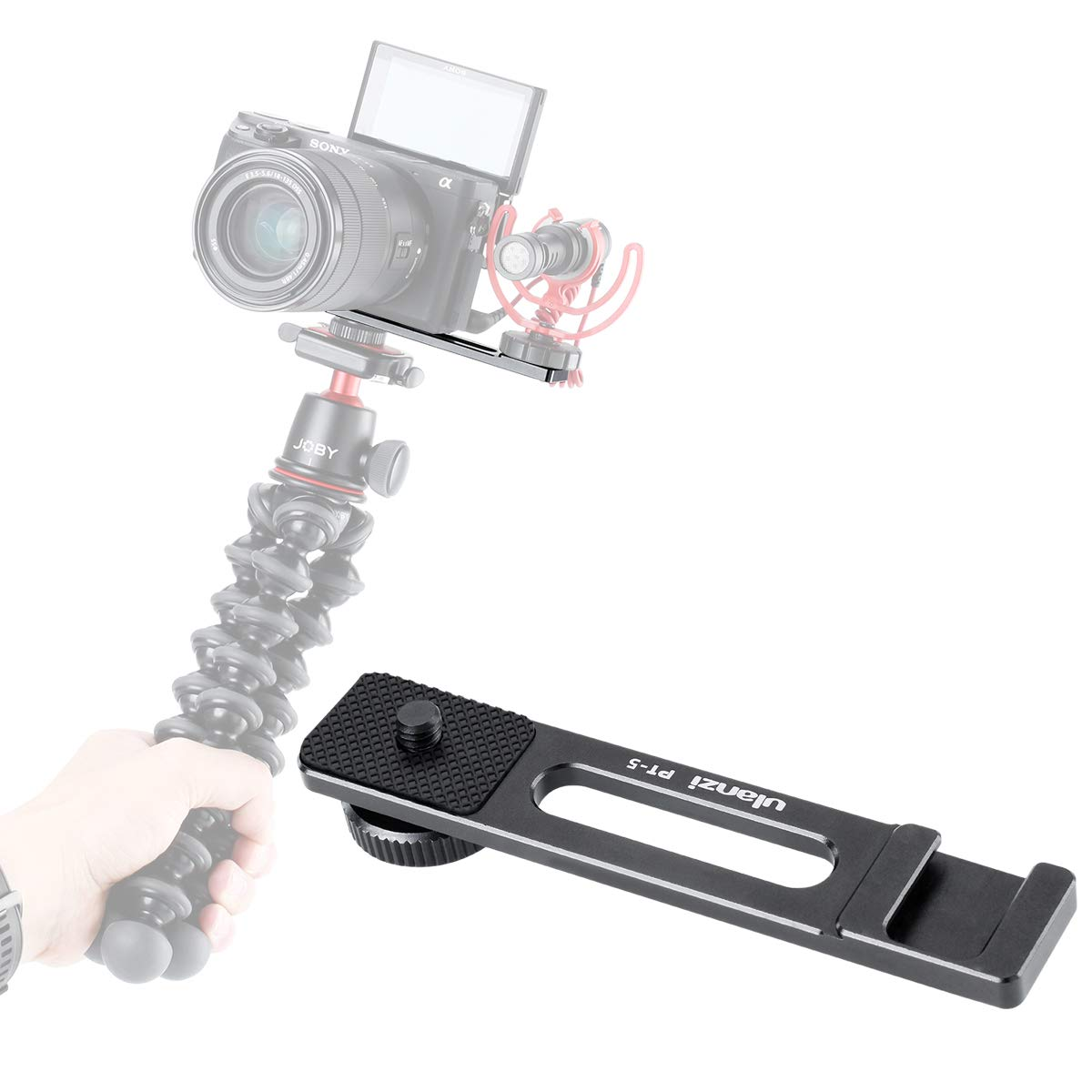 ULANZI PT-5 Vlog Cold Shoe Bracket Extension Bar Apply for Microphone LED Video Light w 1/4'' Tripod Screw for Sony A6400 6300 6500 6000 Nikon Canon G7X II III Mirrorless Camera Vlogging Accessories by ULANZI