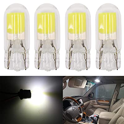 Alopee 4-Pack T10 Ultra Bright White COB Light Source LED Bulbs Replacement for 194 W5W 168 2825 501 Halogen Bulb Interior Lights License Plate Light Bulb: Automotive