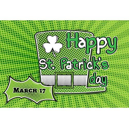 Laeacco 8x6.5ft Vinyl Happy St.Patrick's Day Backdrops March 17 Green Hat Lucky Clover Radial Stripes Polka Dots Illustration Background Irish Traditional Festival Banner Photo Studio Greeting Card