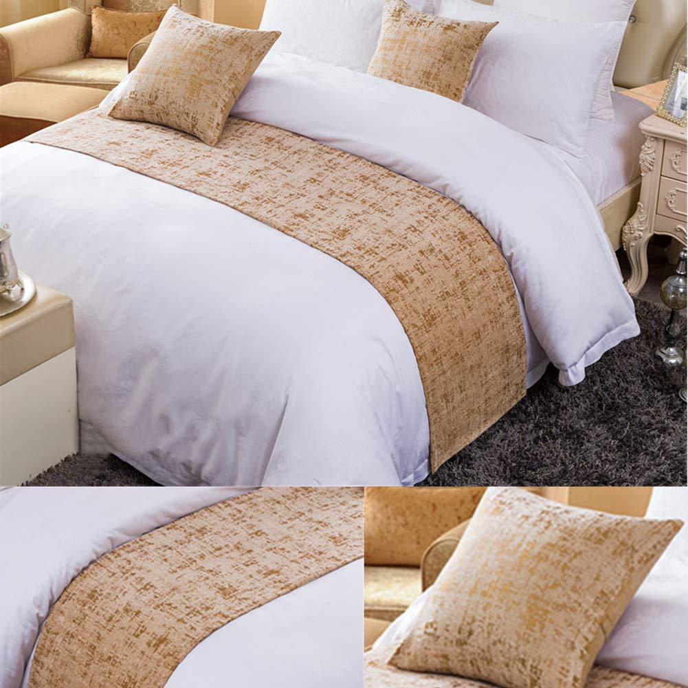 Twelve Queen Chenille Bed Runner Scarf Protector Slipcover Bed Decorative Scarf for Bedroom Hotel Wedding Room Gold by Twelve