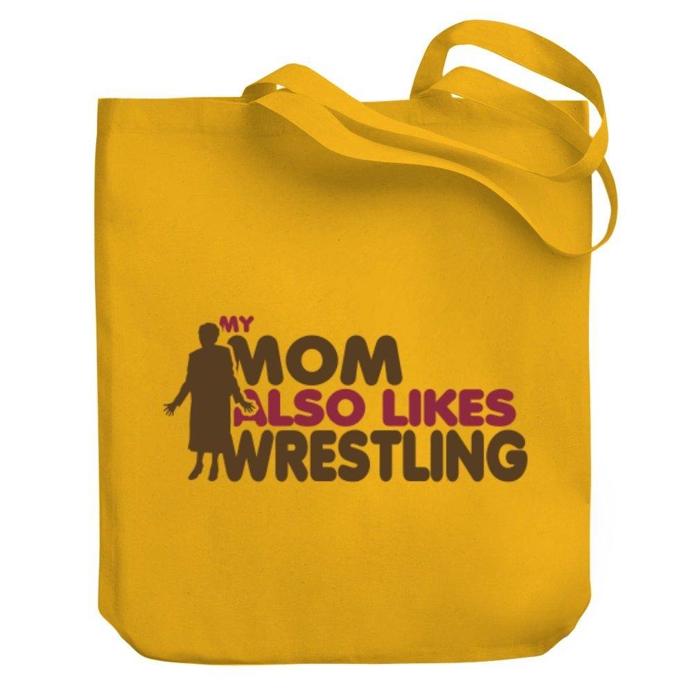 Teeburon MY MOM ALSO LIKES Wrestling Canvas Tote Bag