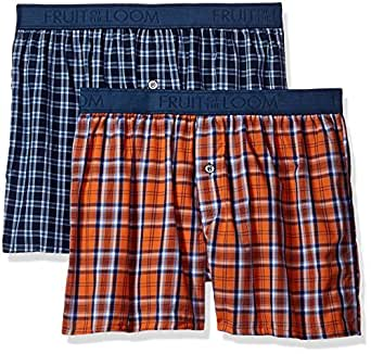 Fruit of the Loom Men's Cotton Stretch Boxer (Pack of 2), Assorted, Medium