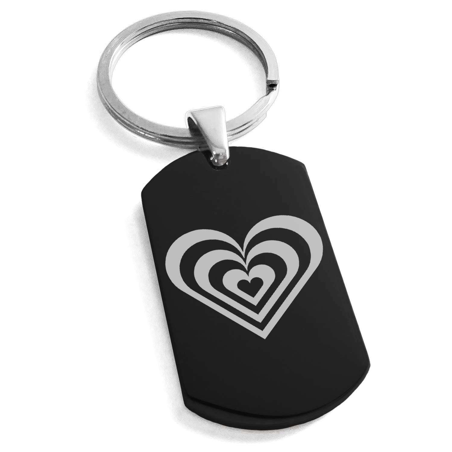 Tioneer Black Stainless Steel Hypnotic Love Heart Engraved Dog Tag Keychain Keyring