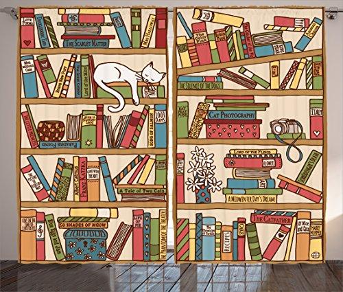 Ambesonne Cat Lover Decor Curtains, Nerd Book Lover Kitty Sleeping Over Bookshelf in Library Academics Feline Cosy Boho Design, Living Room Bedroom Decor, 2 Panel Set, 108 W X 90 -
