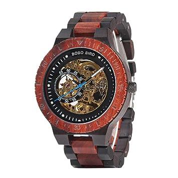 TOOSD Reloj mecánico automático Puntero Digital Impermeable Reloj de los Hombres de Madera Dial Redondo artesanías