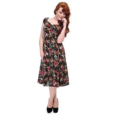 Collectif Damen Vintage Rot Kleid Schwarz Gr22 yn0v8wNmO
