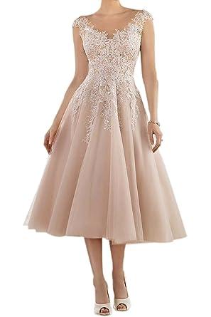 BetterGirl Damen Elegant Hochzeitskleider Teelänge Spitze ...