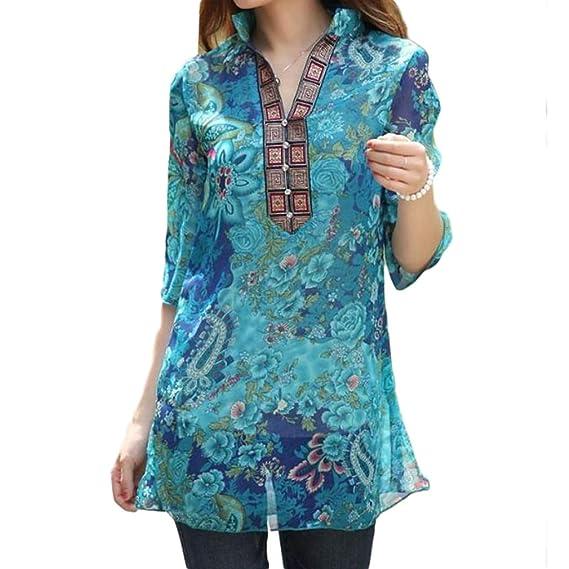 Estilo Nacional Mujeres Impresión Camisa Manga Siete Cuartos Mujer Casual Verano Flojo Protector Solar Blusa Stand